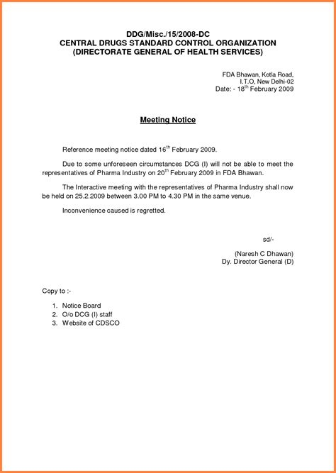 Staff Meeting Memo Template by Sle Letter For Meeting With Tenants Gallery