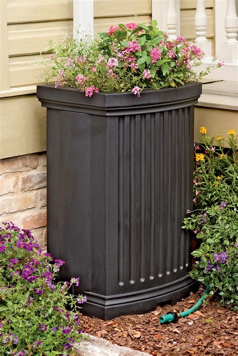 decorative rain barrels  planter gardeners supply