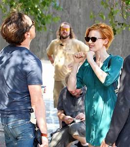 Jessica Chastain and James McAvoy have fun at work in NYC