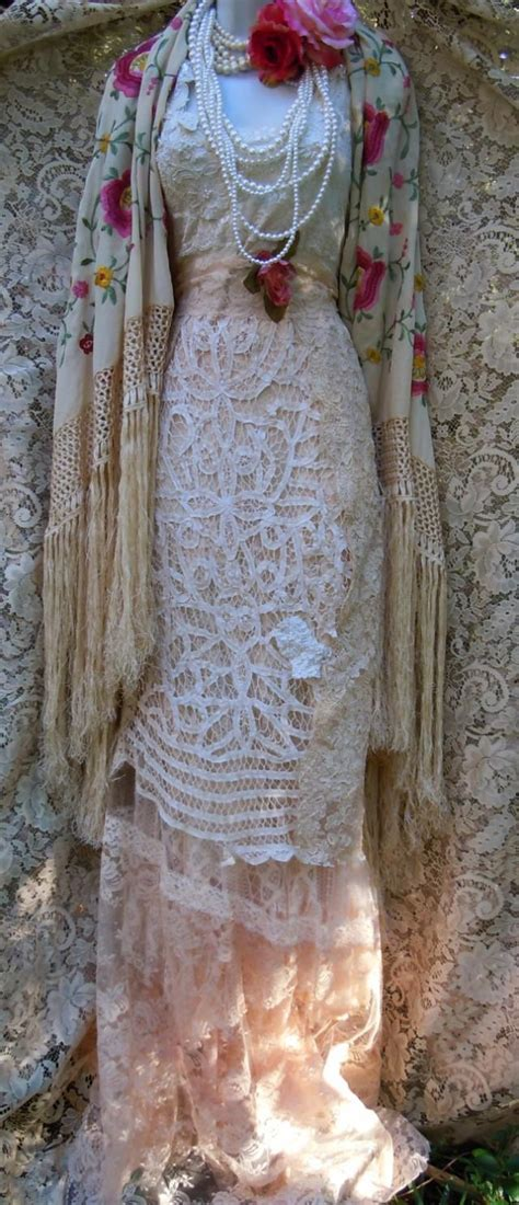 Vintage Opulence by Boho Crochet Dress Wedding Dress Lace Tulle Tiered