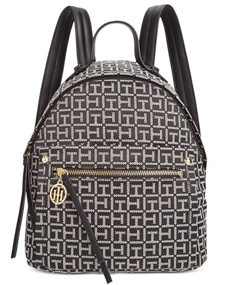 tommy hilfiger tessa monogram jacquard small backpack womens backpack tommy hilfiger bags