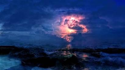 Storm Clouds Sea Lightning 4k Background 1080p