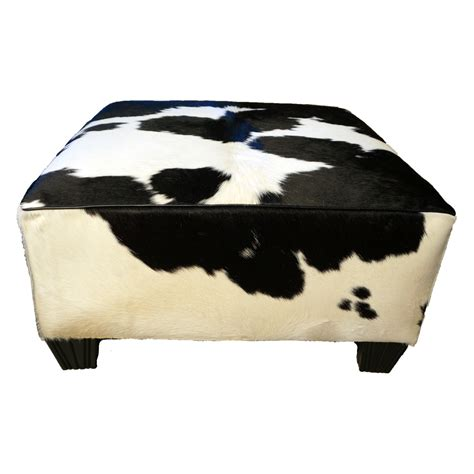 cowhide black and white black and white solid cowhide ottoman