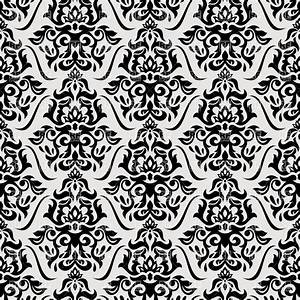 Black and white seamless vintage wallpaper Royalty Free ...