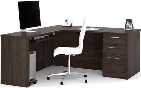 embassy chocolate 66 quot l shaped desk from bestar