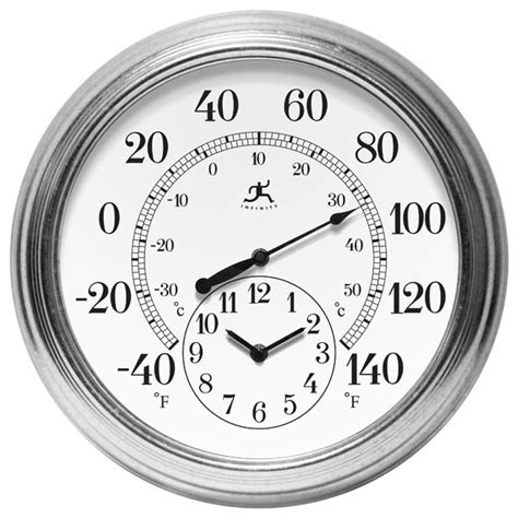 outdoor wall clock and thermometer prague indoor outdoor galvanized thermometer and wall 7248