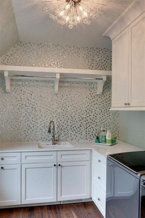Silver and Turquoise Hex Laundry Room Tiles   Contemporary