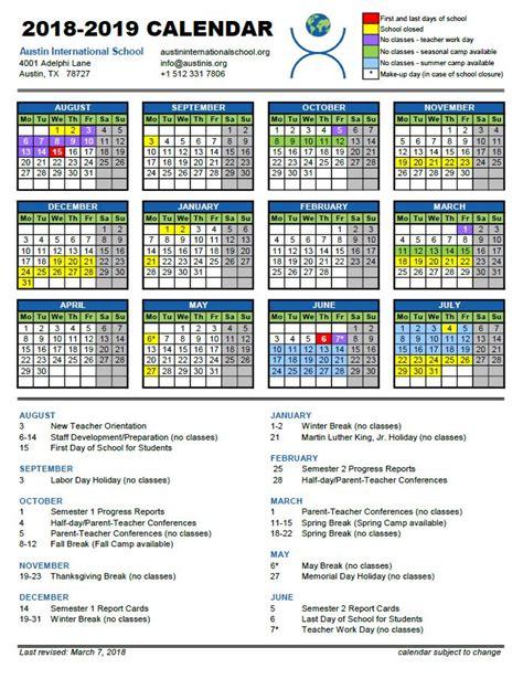 calendar austin international school