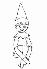 Elf Shelf Coloring Pages Printable Character Via sketch template