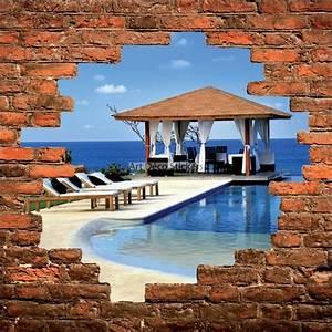 Mur Trompe L Oeil : sticker mural trompe l il mur de pierre piscine et mer stickers muraux deco ~ Melissatoandfro.com Idées de Décoration