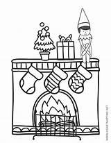 Coloring Elf Shelf Printable Fireplace Fun Include Sitting Help Way Spot sketch template