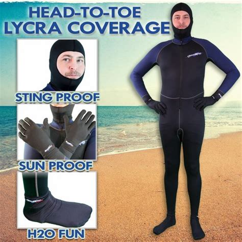 ocean quest head  toe lycra dive skin package