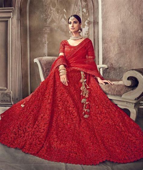 buy red color heavy work indian wedding lehenga  uk usa