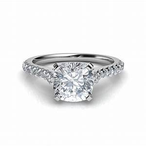 Cathedral cushion cut diamond engagement ring for Diamond wedding ring images