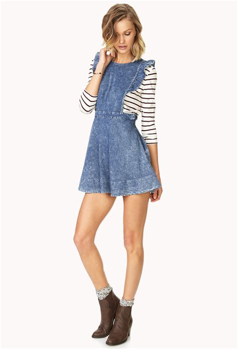 a line pinafore dress lyst forever 21 denim pinafore dress in blue