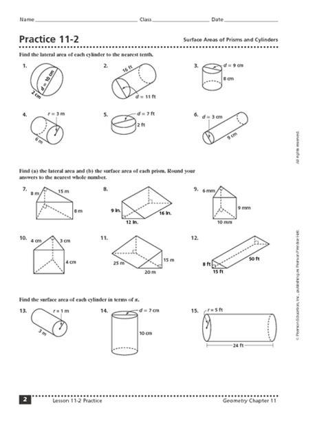 41 volume of prisms and cylinders worksheet quiz