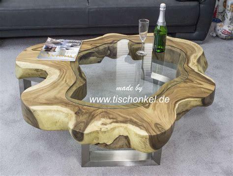 glasplatte tisch anfertigen designer couchtisch baumscheibe mit glas der tischonkel