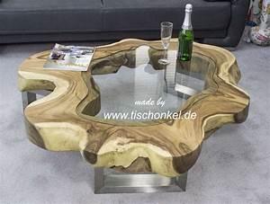 Designer Couchtisch Baumscheibe Mit Glas Der Tischonkel