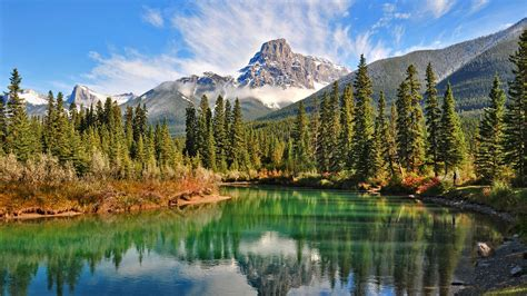 lake forest mountain canada summer snowy peak green
