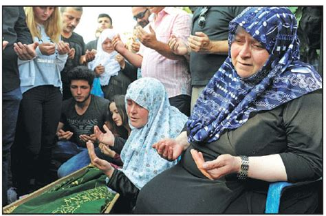 Neyde Dayicik Right Mourns Next The Coffin Her Son