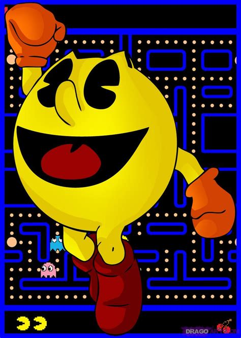 How To Draw Pac Man Step By Step Video Game Characters