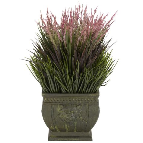 outdoor faux plants 13 inch mixed grass in planter 4124