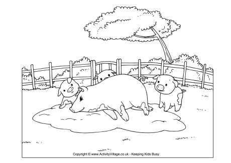 mud and pig pen coloring coloring pages