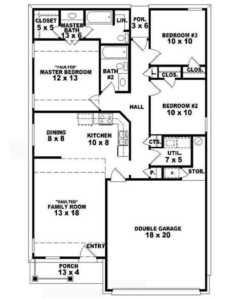 3 bed 2 bath floor plans 653710 one country style 3 bedroom 2 bath