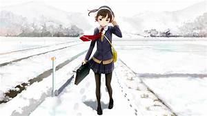 Winter, Snow, School, Uniform, Original, Characters, Anime, Girls, Wallpapers, Hd, Desktop, And