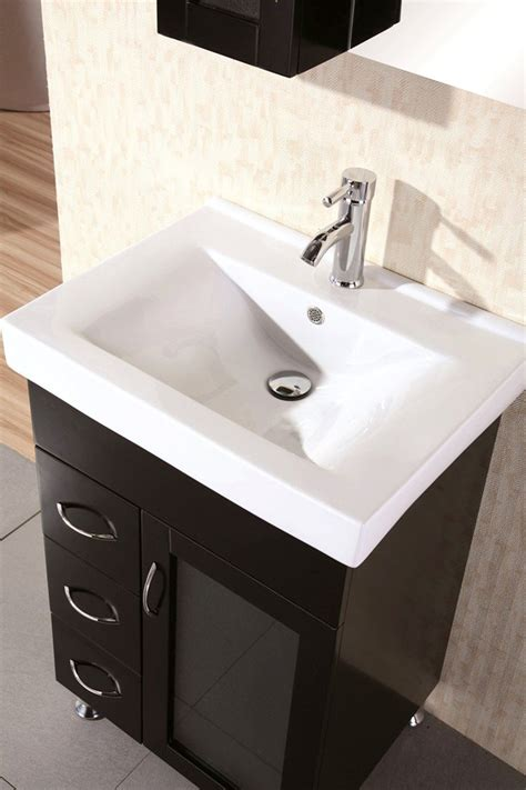 Small Sink Bathroom Vanity by Design Element Oslo Single Porcelain Integrated Drop In