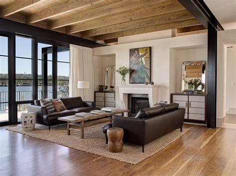walnut flooring   transitional living room