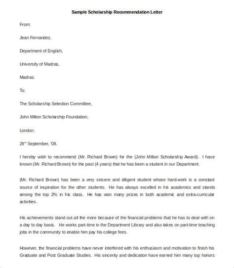 sample scholarship application letter