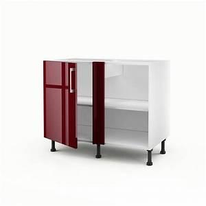 Cuisine D Angle : meuble de cuisine bas d 39 angle rouge 1 porte griotte x x cm leroy merlin ~ Teatrodelosmanantiales.com Idées de Décoration
