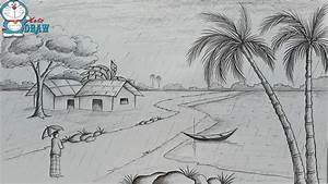 How To Draw Scenery Of Rainy Season By Pencil Sketch Step