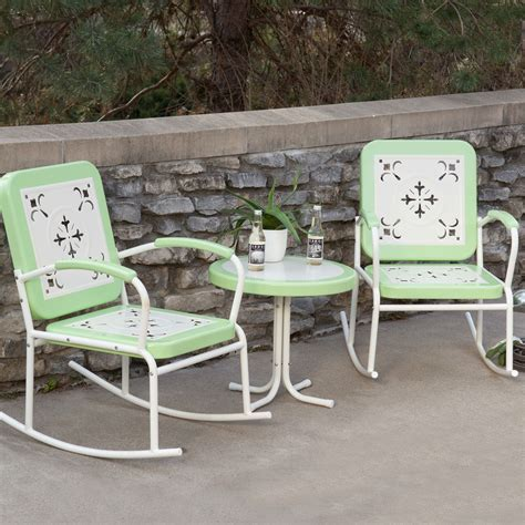 mint green retro patio 3 pc metal rocker rocking chair