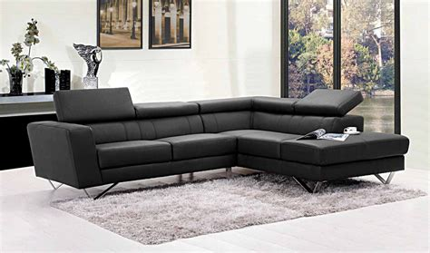 Dark Grey L Shaped Leather Sectional Sofa Furniture And
