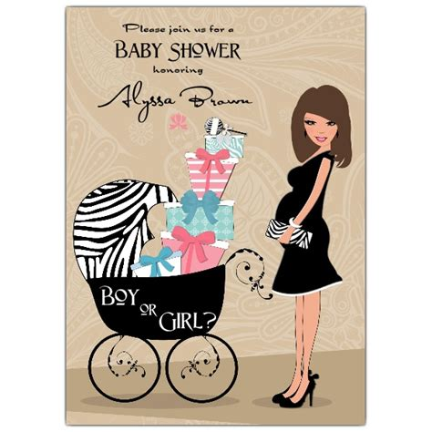 hot mama brunette neutral baby shower invitations paperstyle