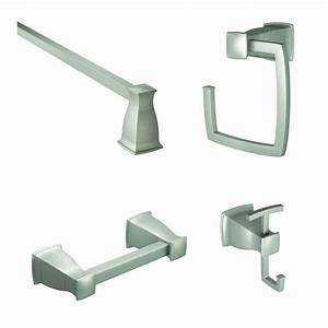 Moen hensley 4 piece bath hardware set with 18 in towel for Bathroom hardware sets brushed nickel