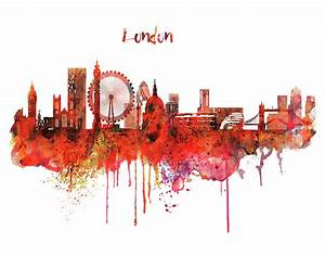 London Skyline Watercolor Mixed Media by Marian Voicu