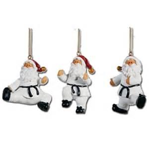 taekwondo santa ornament set taekwondo holiday ornaments taekwondo christmas ornament