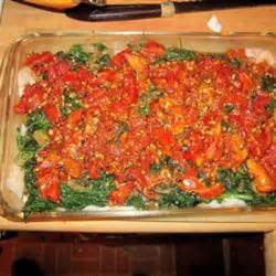 Baked Haddock with Tomatoes and Spinach