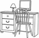 Bureau Un Coloring Furniture Pages sketch template