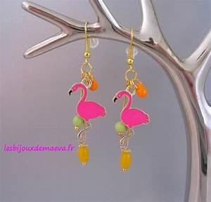 Bijoux Flamant Rose : boucles d 39 oreilles fantaisie rose orange flamant rose ~ Teatrodelosmanantiales.com Idées de Décoration