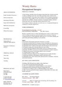 therapist curriculum vitae occupational therapist cv hashdoc