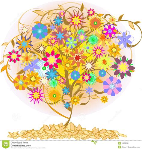 color tree color tree stock vector image of abstract floral stick