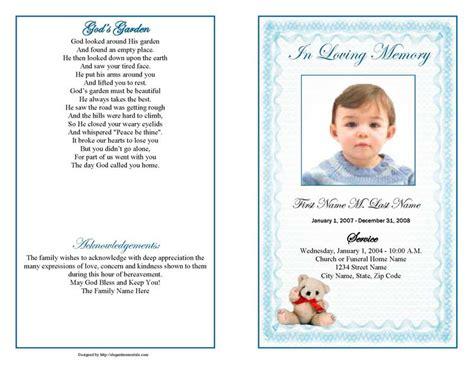 blue teddy bear funeral program template elegant memorials