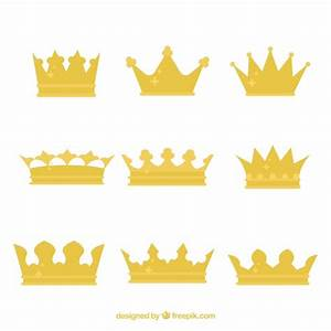 Set of king's crowns with flat design Vector | Free Download