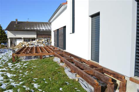 terrasse bois sur pilotis m aub s construction
