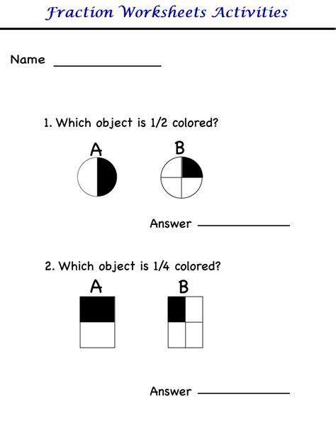 worksheets on fractions for kindergarten kindergarten worksheets kindergarten worksheets