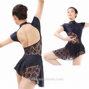 girls lyrical turtle neck lace ballet dance costumes dress With robe danse contemporaine